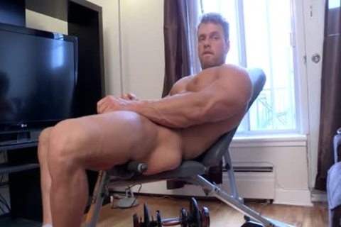 Philippe Lebrun Aka Brad Aka Kovi Lacroix - Works Out naked And Strokes His thick dong