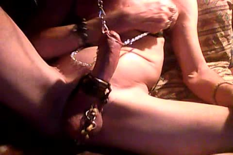 jack off With handcuffed nipples & 10-Pounder