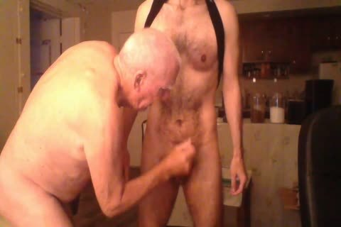 An Elderly man Having fun With A young man