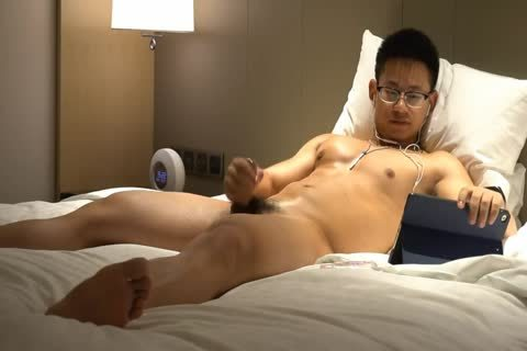 Chinese Glasses Geek Athlete Muscle Hunk Show His Body And sperm