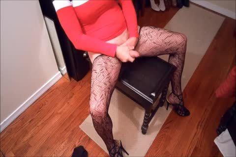 SL4UA Holly Cums Hard In Red suit Patterned stockings