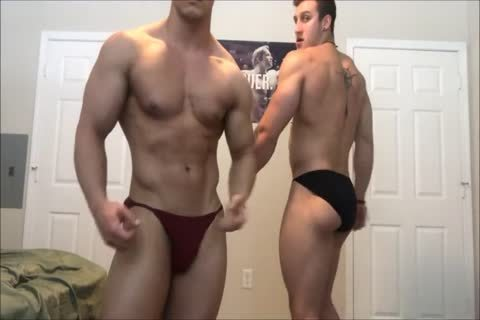 Two Bodybuilder Muscle allies Feeling Each Other Up