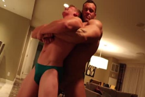 Muscle fellow Dominating tiny guy