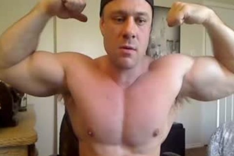 beefy Hunk jerking off On web camera