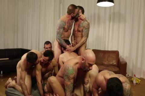 Rocco steel's Breeding Party Grows To Nine man orgy