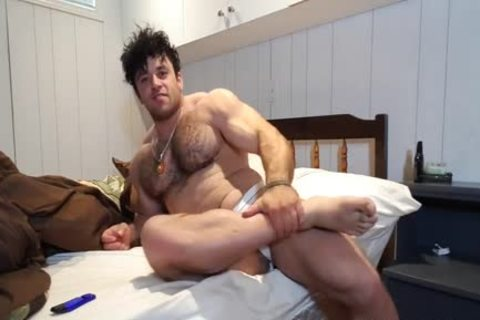 curly Muscle Bear Jerks Off