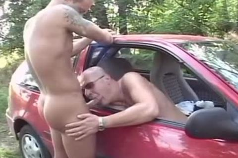 Two excited men bang In The Woods In The Back Of His Car