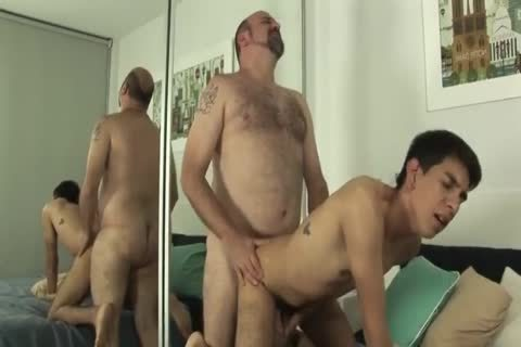 juvenile Latin twink pleasuring plump Daddy Bear