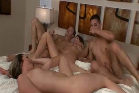 TJ And blond Muscle Hunk Foursome