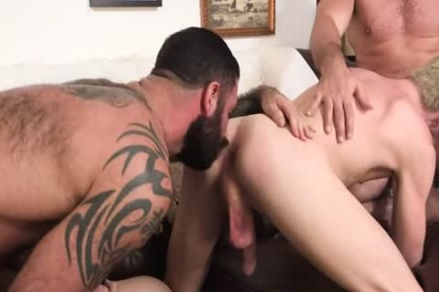 Curious twink Spitroasted By older guys