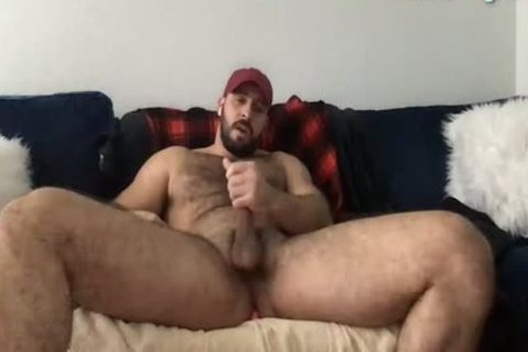 Beard Mascle Daddy Wanks Off gigantic wang And Cums A Lot