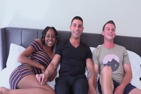 MMF Bi threesome biggest Uncut EURO 10-Pounder Marcos WRECKS taut aperture On dirty Bottom twink Adam while dirty ebony Destiny Cums From Her toy!