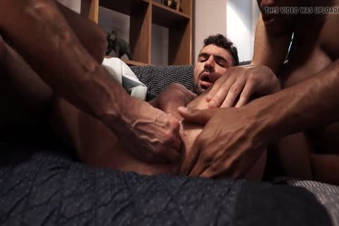 hot 3some - Fisting, anal-copulation, fellatio sex, spooge On butt