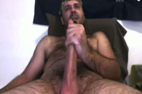 Daddy Bear stroking His 10 Inches schlong And Cumming