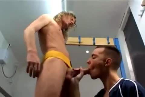 bushy Hair Blond cock Barebacks His Buddy In The Locker Room