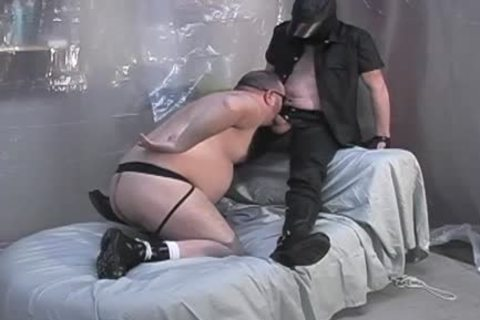 Masked lad acquires his penis sucked by bear