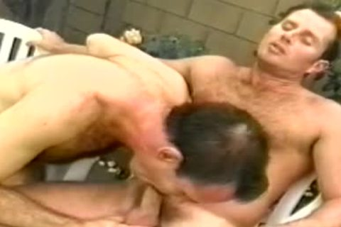 Two burly males go down on each other & gangbang