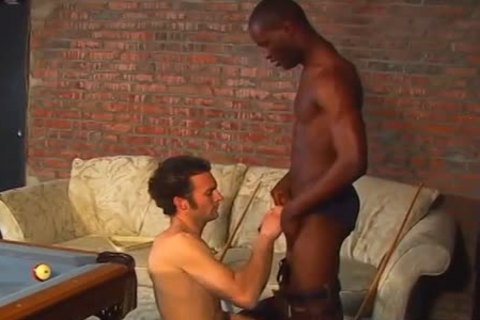 Interracial pool table muscle plow